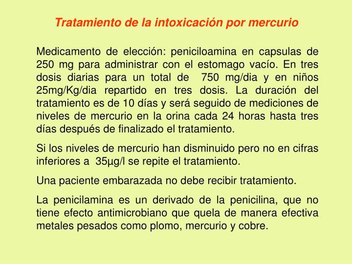 Tratamiento de la intoxicación por mercurio
