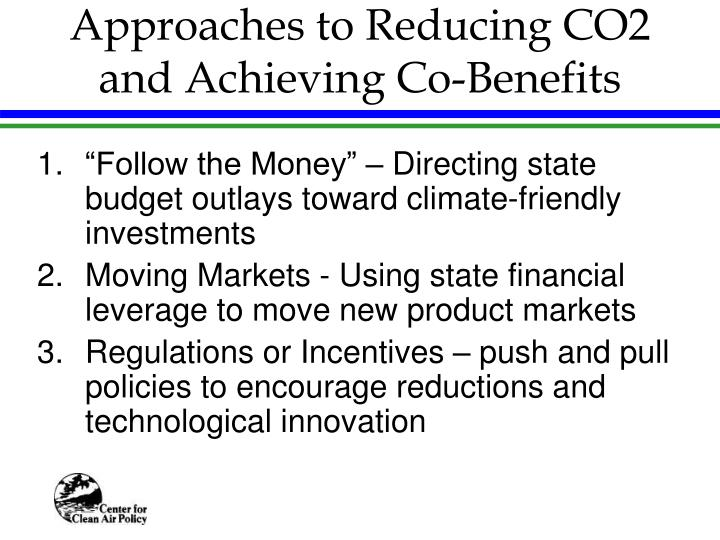 Approaches to Reducing CO2 and Achieving Co-Benefits