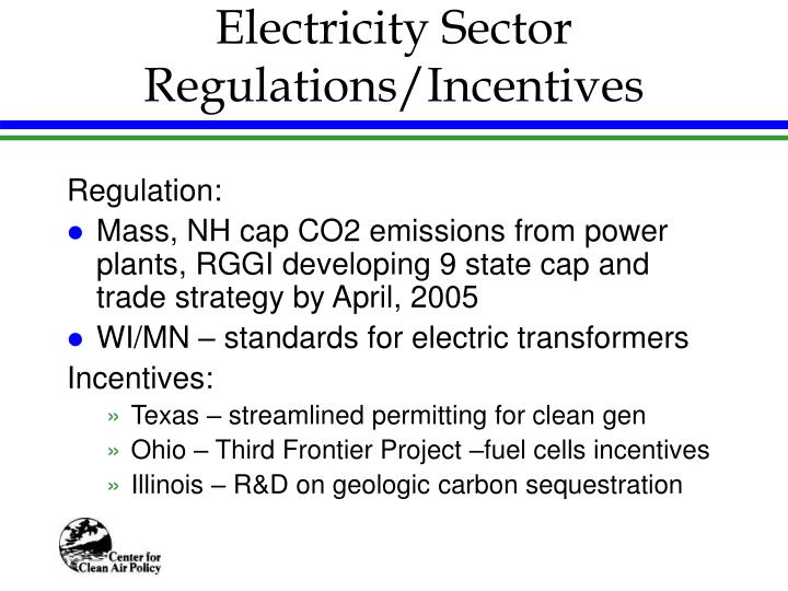 Electricity Sector Regulations/Incentives