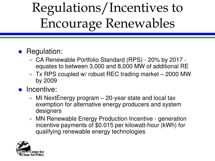 Regulations/Incentives to Encourage Renewables