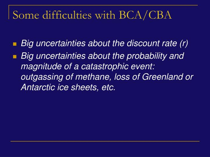 Some difficulties with BCA/CBA