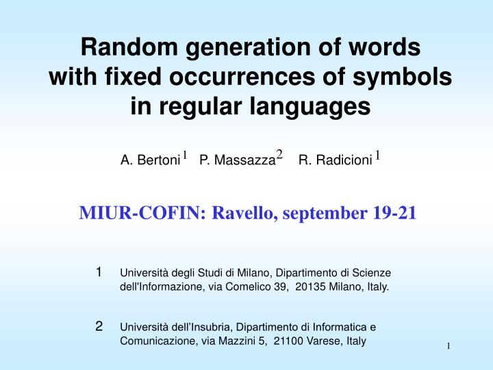 Random generation of words