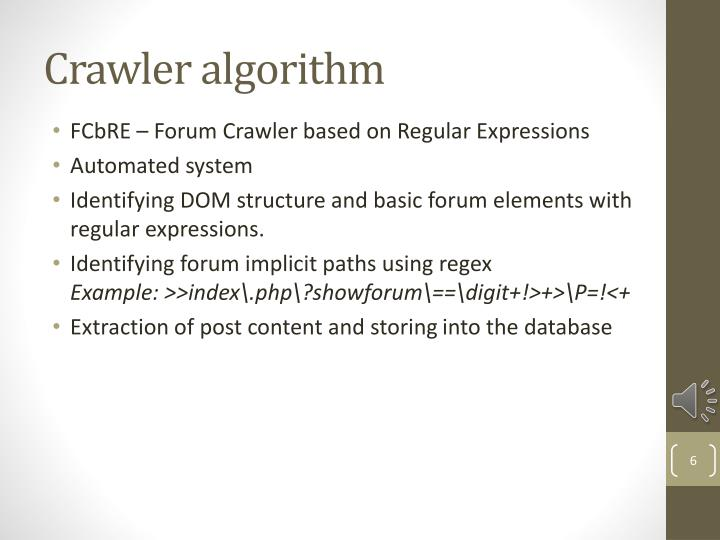 Crawler algorithm