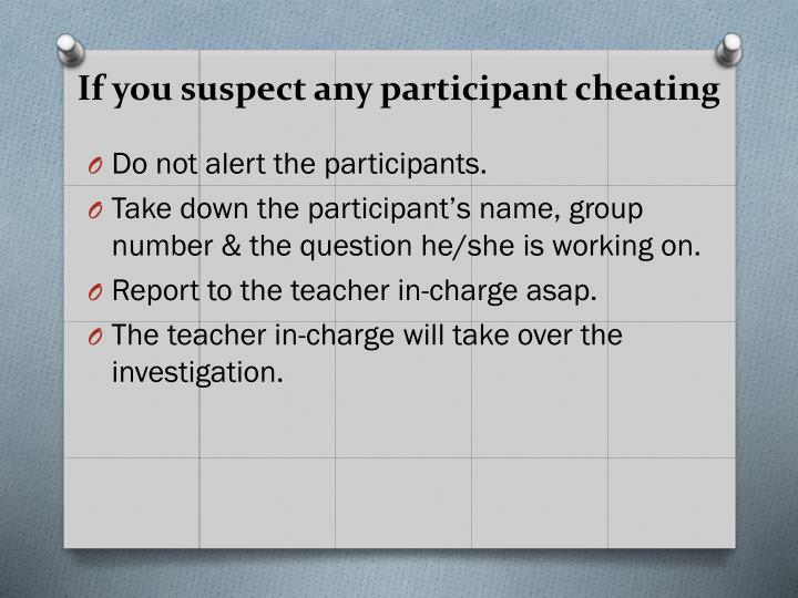 If you suspect any participant cheating