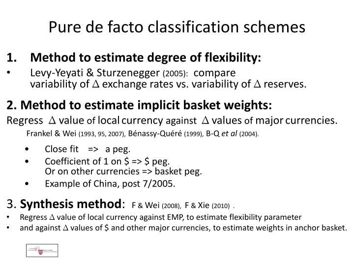 Pure de facto classification schemes