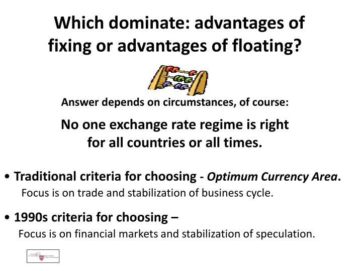 Which dominate: advantages of fixing or advantages of floating?