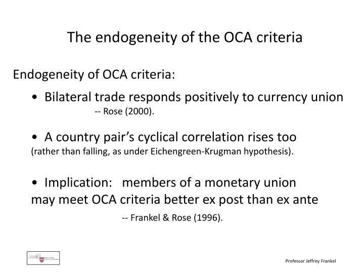 The endogeneity of the OCA criteria