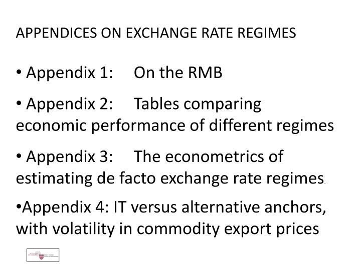 APPENDICES ON EXCHANGE RATE REGIMES
