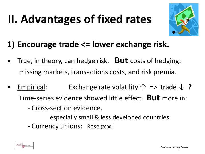II. Advantages of fixed rates