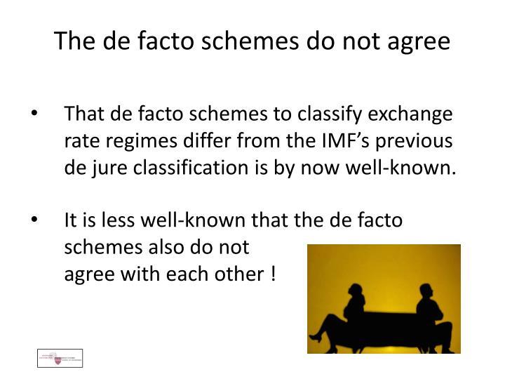 The de facto schemes do not agree