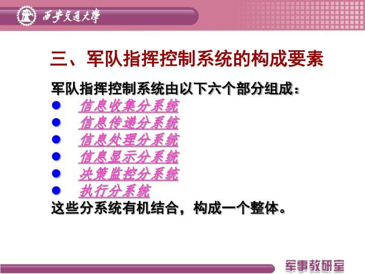 三、军队指挥控制系统的构成要素