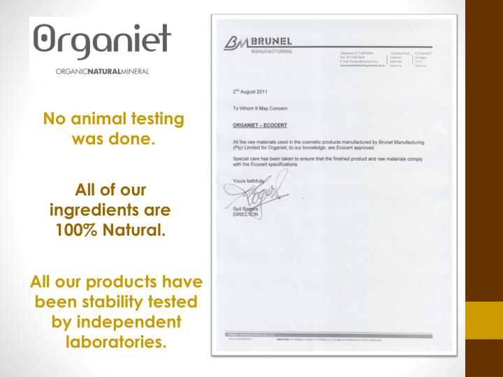 No animal testing was done.