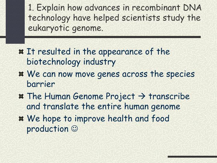 1. Explain how advances in recombinant DNA technology have helped scientists study the eukaryotic genome.
