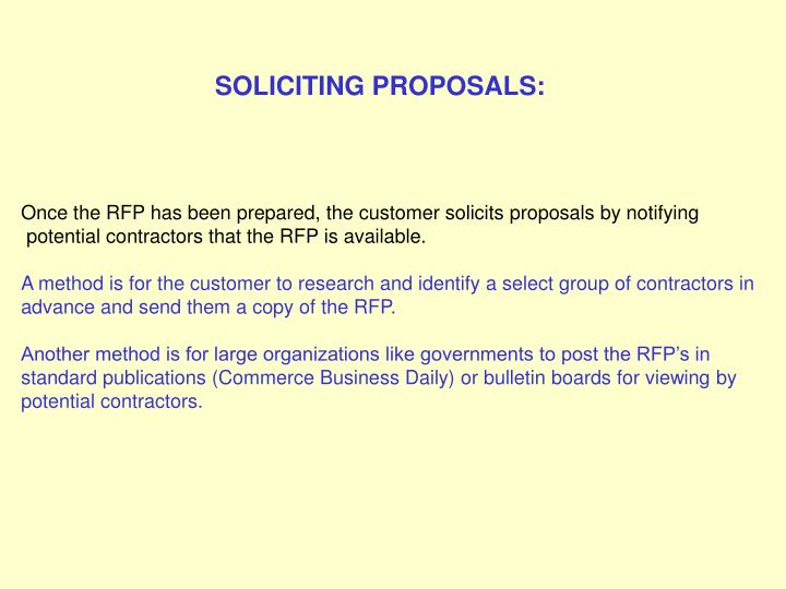 SOLICITING PROPOSALS: