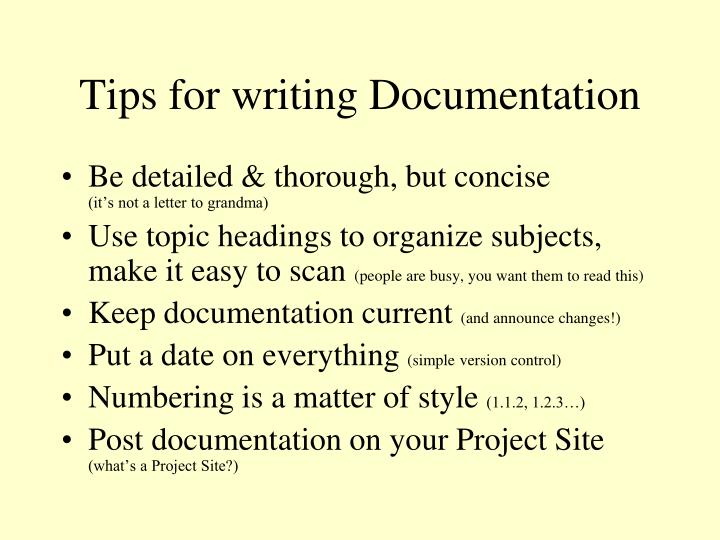 Tips for writing Documentation