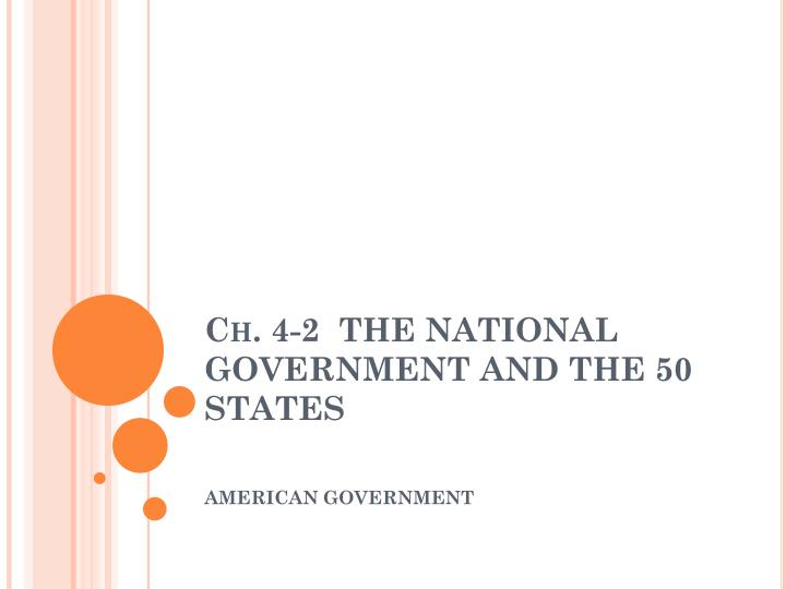 Ch 4 2 the national government and the 50 states