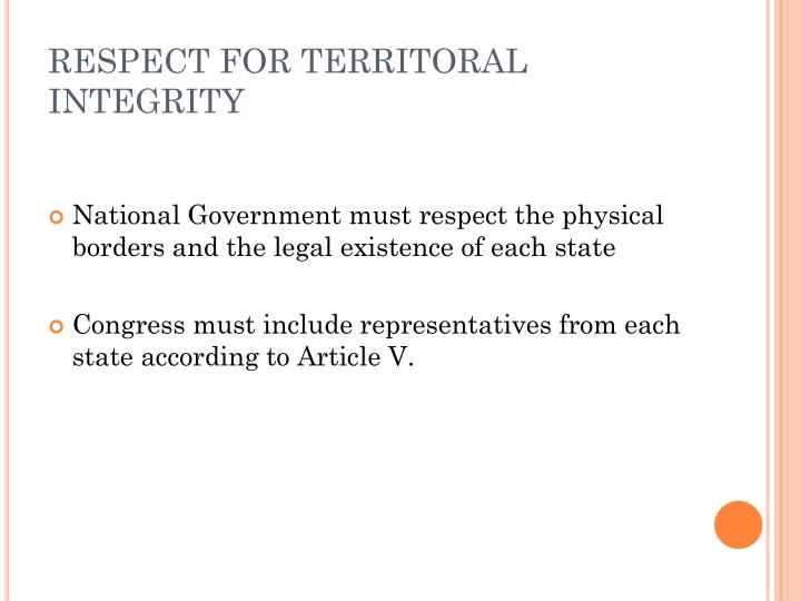 RESPECT FOR TERRITORAL INTEGRITY