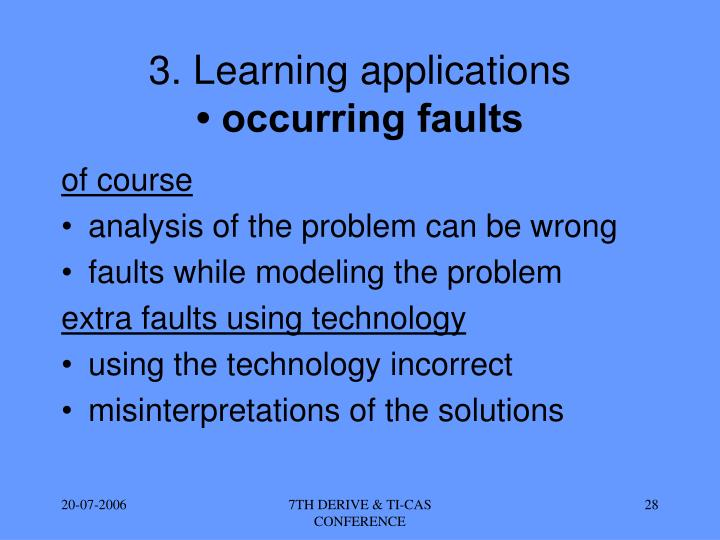 3. Learning applications