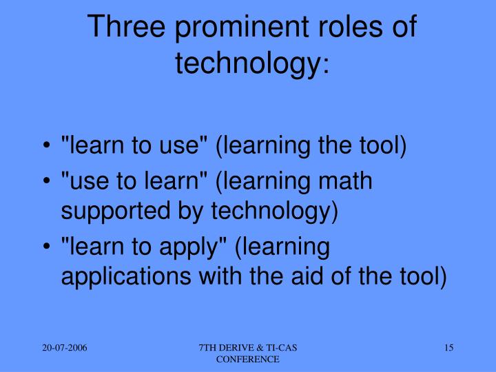 Three prominent roles of technology