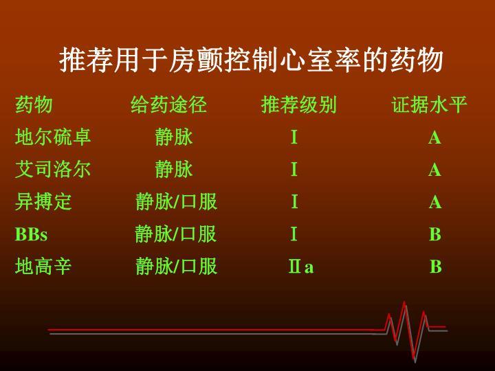 推荐用于房颤控制心室率的药物