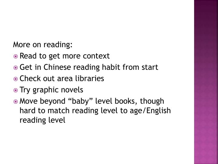 More on reading: