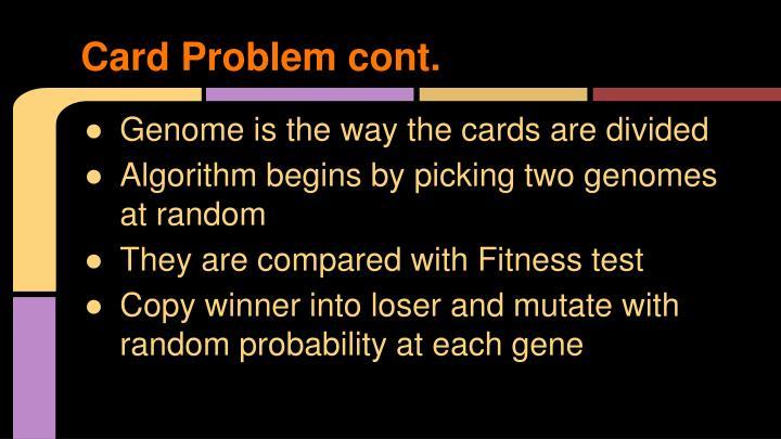 Card Problem cont.