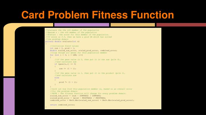 Card Problem Fitness Function