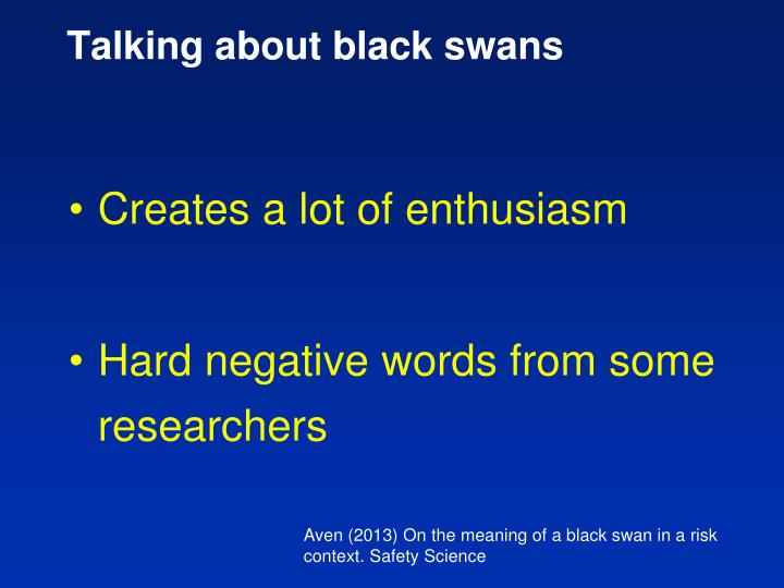 Talking about black swans