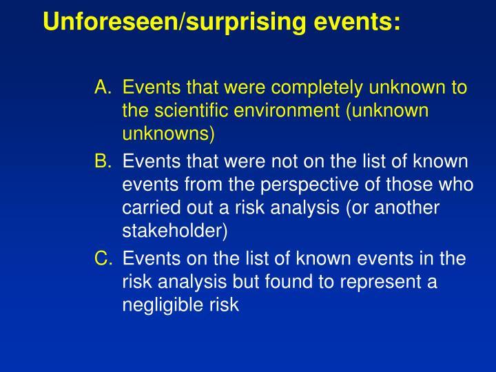 Unforeseen/surprising events: