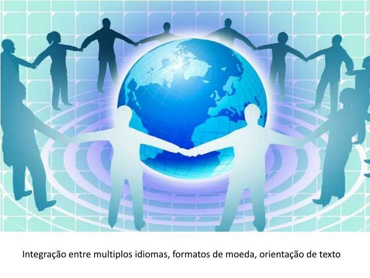 Integração entre multiplos idiomas, formatos de moeda, orientação de texto