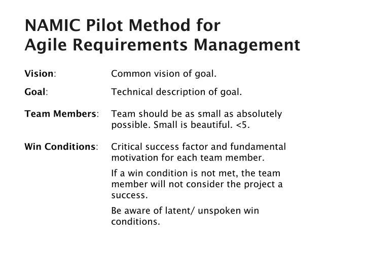 NAMIC Pilot Method for