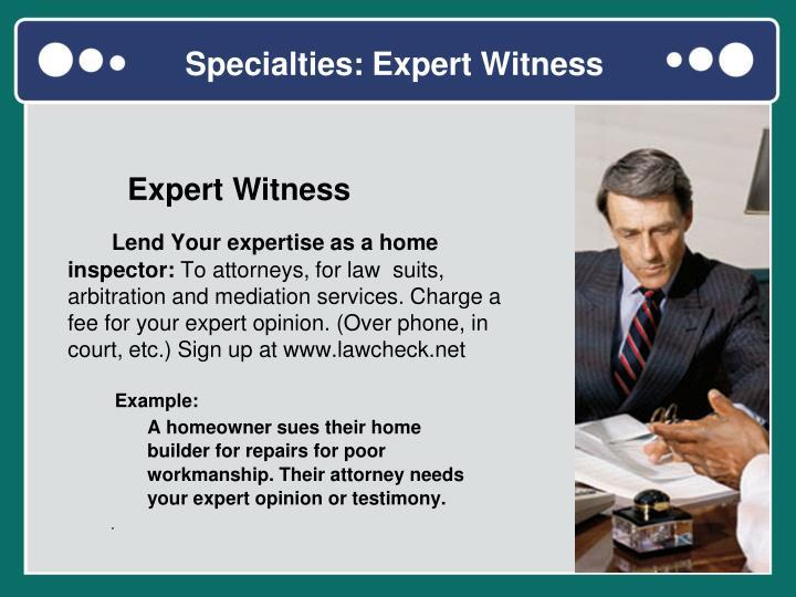 Specialties: Expert Witness