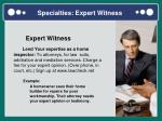 specialties expert witness