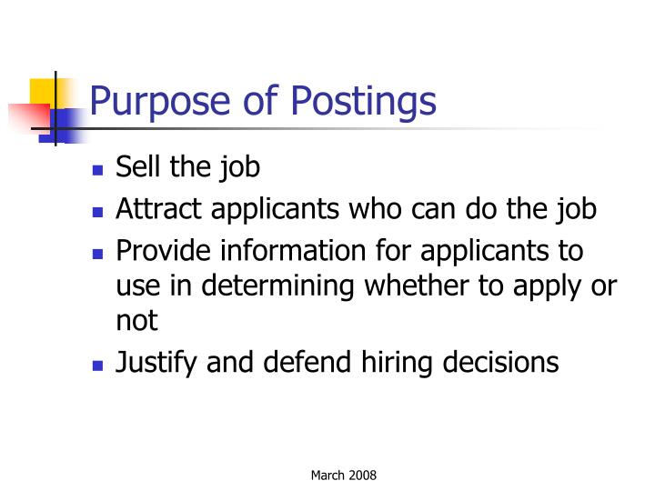 Purpose of Postings
