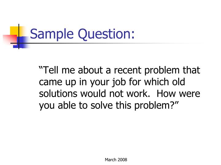 Sample Question: