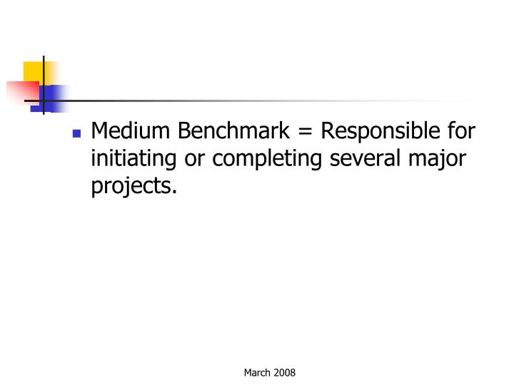 Medium Benchmark = Responsible for initiating or completing several major projects.