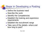 steps in developing a posting