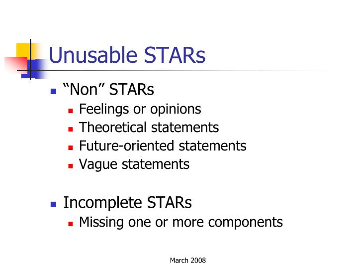 Unusable STARs