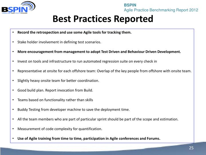 Best Practices Reported