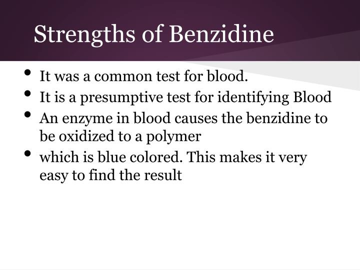 Strengths of Benzidine