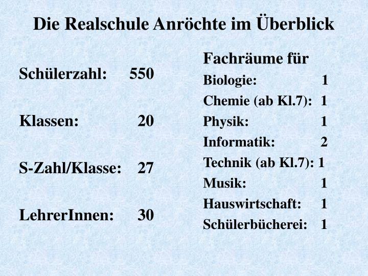 Schlerzahl:550