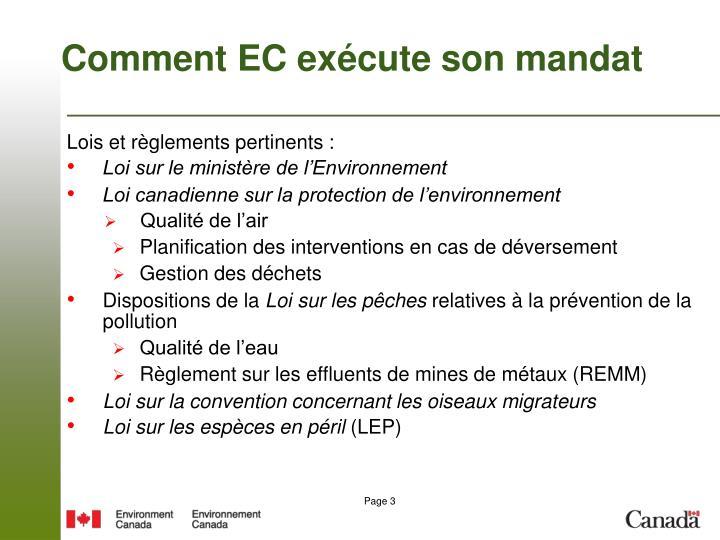 Comment EC exécute son mandat