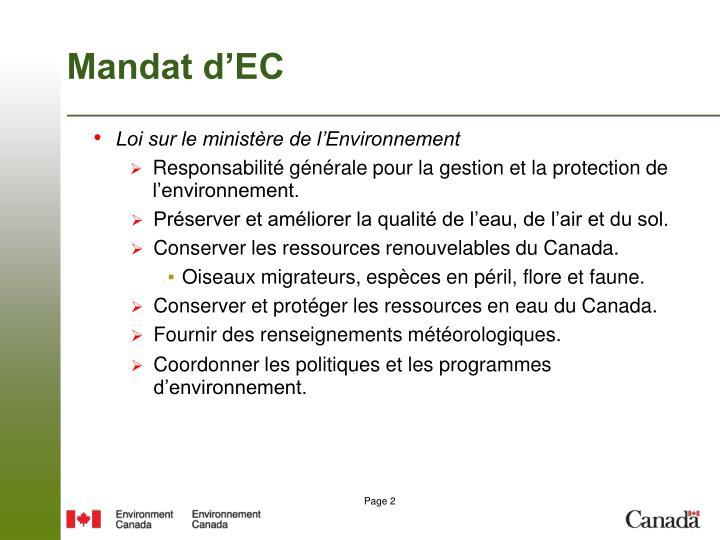 Mandat d'EC