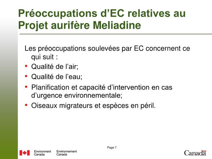 Préoccupations d'EC relatives au Projet aurifère