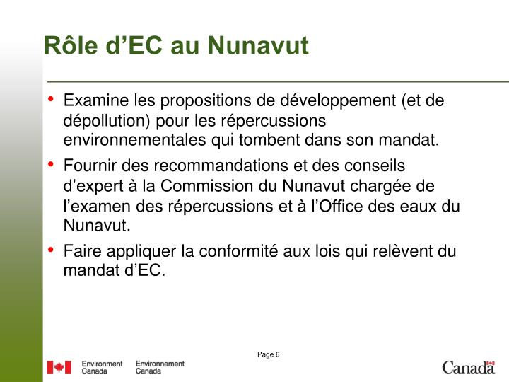Rôle d'EC au Nunavut