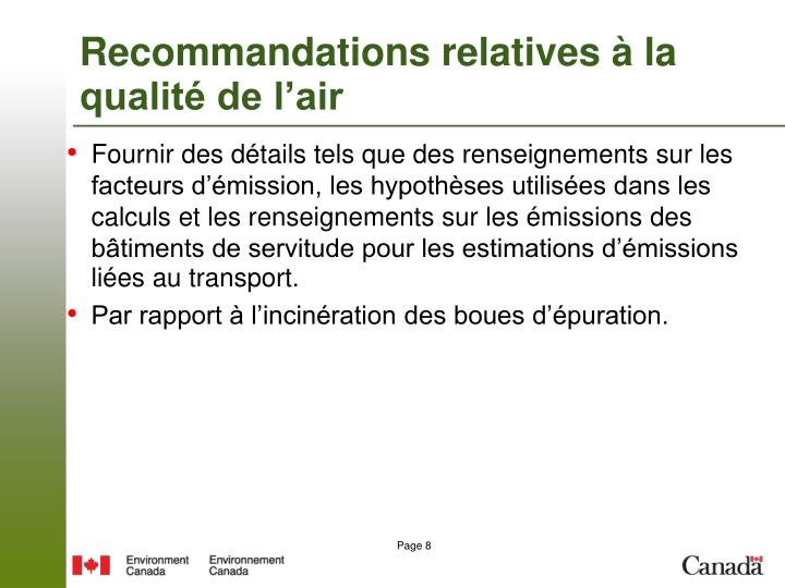 Recommandations relatives à la qualité de l'air