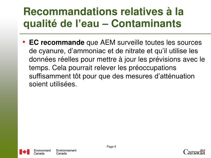 Recommandations relatives à la qualité de l'eau – Contaminants