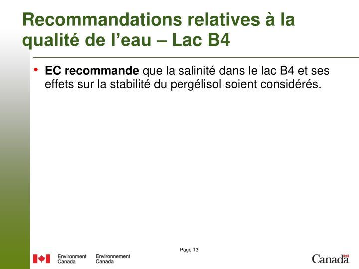 Recommandations relatives à la qualité de l'eau – Lac B4