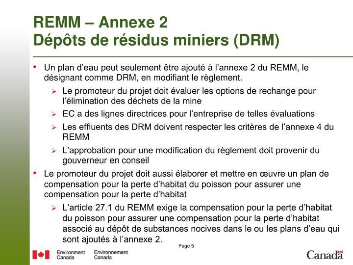 REMM – Annexe 2