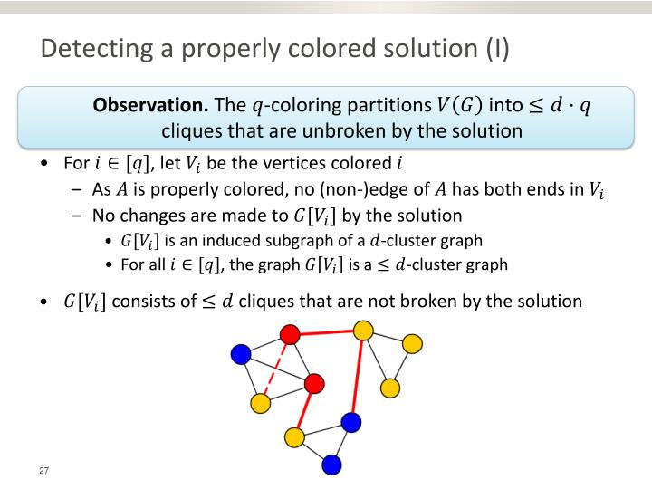 Detecting a properly colored solution (I)